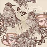 版画风格蜂鸟与花朵