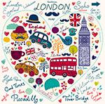 心形浪漫伦敦元素