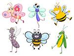 可爱的卡通昆虫