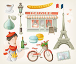 卡通风格巴黎元素