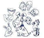 手绘风格的动物