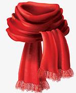 秋天红色围巾