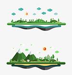 悬浮自然城市元素