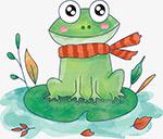 秋天手绘卡通青蛙