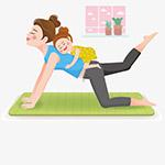 做瑜伽的母女