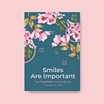 水彩花卉世界微笑日