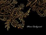 金色手绘花黑色背景