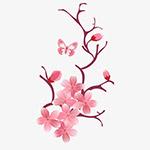 手绘粉色桃花树枝