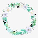 手绘的白花花环