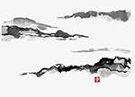中国风墨色手绘山峰