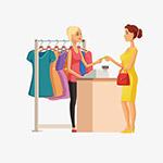 服装店付款场景插画