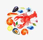水彩海鲜食材