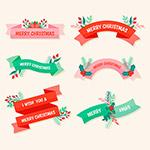 圣诞节丝带横幅标签