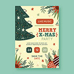 手绘圣诞派对海报