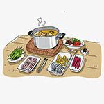 冬天食物火锅矢量