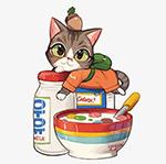 猫咪和牛奶麦片
