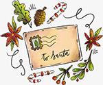 水彩手绘圣诞节明信片