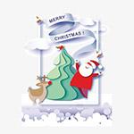 可爱剪纸圣诞矢量插画