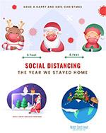 保持社交距离的圣诞老人