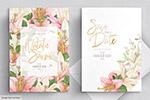 粉色白色装饰婚礼邀请卡