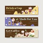 水彩咖啡饮品广告