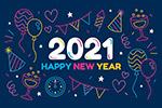 2021彩色新年矢量海报