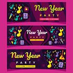 新年派对横幅矢量