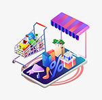 2.5D购物车立体插画