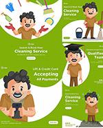 清洁打扫扁平化插画