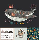 卡通鲸鱼插画图案