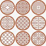 中式花纹圆形窗花格