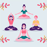 瑜伽人物矢量插画