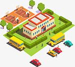 2.5d立体学校建筑插画