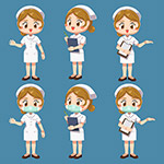矢量护士人物插画