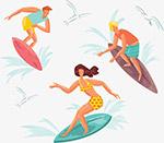 夏季运动冲浪的人