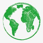 矢量绿色蜡笔画地球