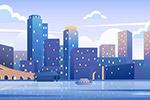 城市建筑街景插画