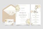 花卉婚礼卡片矢量