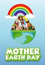 卡通地球日横幅广告