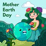 地球日画地球女孩插画