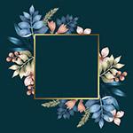 冬花方形金色框