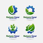 绿叶齿轮组合创意标志