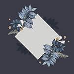 蓝色花朵方形卡片框架