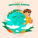 地球母亲关爱卡通男孩