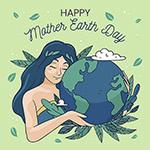女孩地球日插画