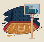 篮球运动景物矢量