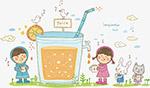 喝果汁卡通矢量图