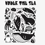 黑白海洋动物插画