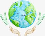 清新水彩手绘手捧地球