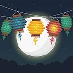 中秋节灯笼月亮矢量